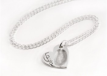 Large Heart Shaped Fingerprint Pendant