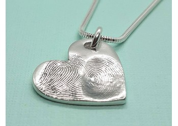 Two Fingerprint Large Heart Pendant