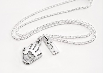 Handprint Necklace with Name Tag