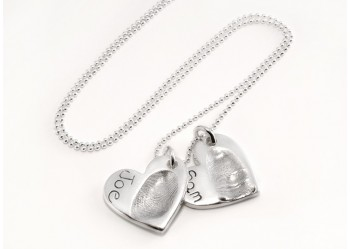 Double Heart Fingerprint Pendant