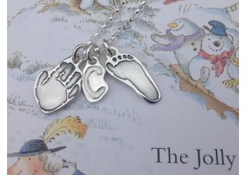 Hand & Foot Print plus Initial Charm on Chain