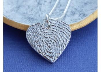 Ink Print Heart Padlock Style Pendant