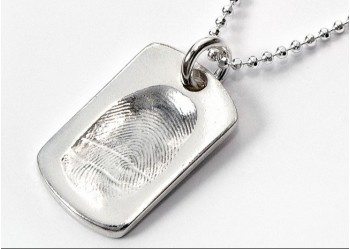 Fingerprint Pendant, Dog Tag on Chain