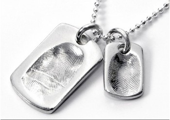 Large & Small Fingerprint Dog Tags on Chain