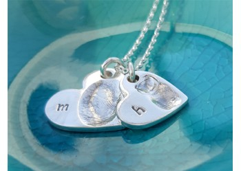 Double Heart Initial Pendant