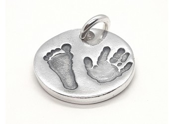 Hand and Foot Print Round Charm