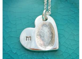 Initial Fingerprint Heart Pendant