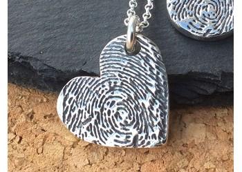 Ink Fingerprint Heart Pendant