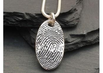 Ink Fingerprint Oval Pendant