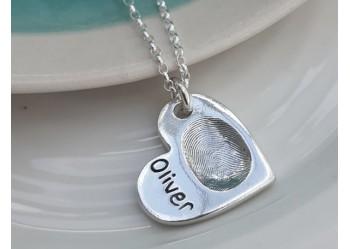 Large Heart Shaped Fingerprint Pendant