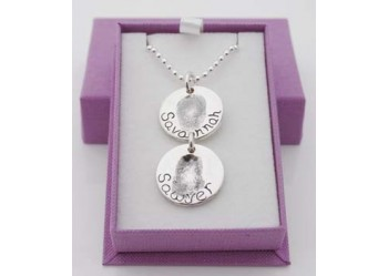 Double Round Fingerprint Charm Necklace