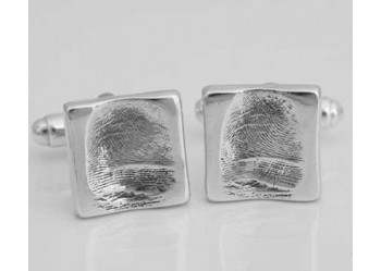 Fingerprint Cufflinks - Square Button