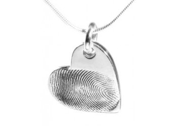 Double Sided Fingerprint Heart Pendant