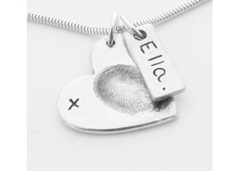 Fingerprint Heart Pendant & Tag on Chain