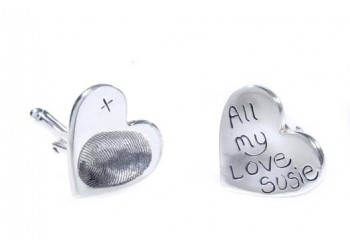 Fingerprint Cufflinks - Heart