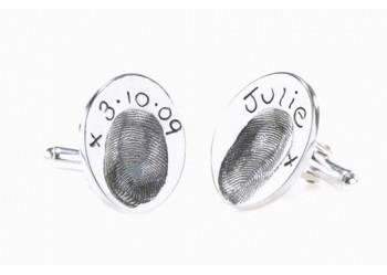 Fingerprint Cufflinks - Oval