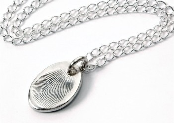 Small Fingerprint Oval Pendant